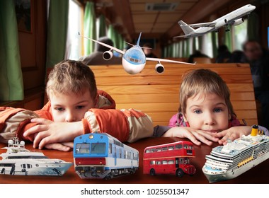 Boy and girl sits in train, around them are different types of transport, collage