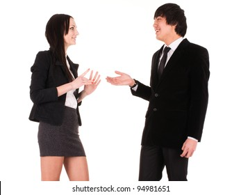 boy and girl speak each other
