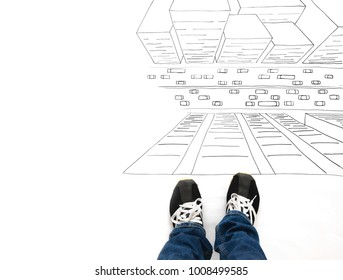 Boy or Girl Standing on top of Building Sketch