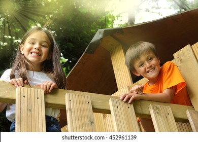 Boy and girl in a treehouse