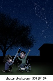 A boy and a girl use a telescope to look at a kite-shaped constellation in the night sky.