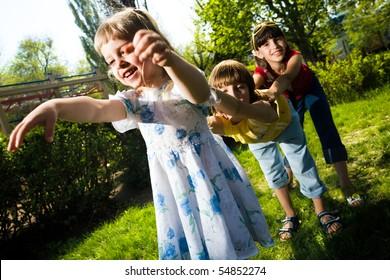 Boy with girls on walk