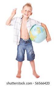 Boy and globe. Isolated on white background