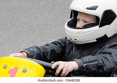 Boy is going for his first karting race.