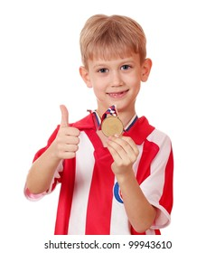 boy with gold medal winner