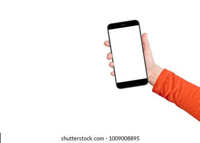 A boy hand holding smartphone with empty screen, isolated on white background. Free space for text