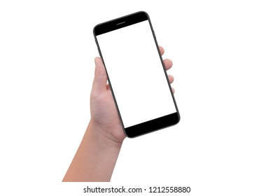 Boy hand holding white modern smartphone with empty screen, isolated on white background. Mockup
