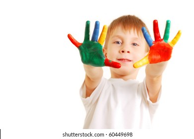 boy with hands in paint isolated on white background