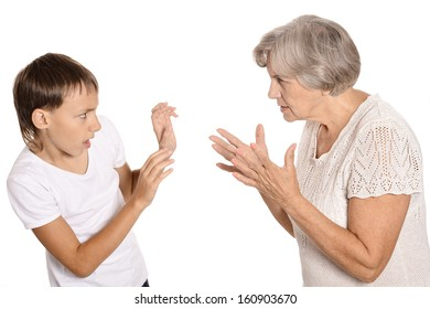 Boy has a conflict with grandmother on white background