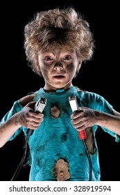 Boy has a electric shock on black background