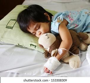 a boy has got sick. He needs fluid replacement.