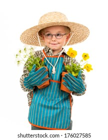 A boy with a hat and apron holds two plants.
