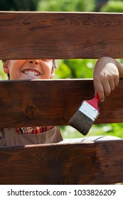 Boy having fun grimacing through a fence - while painting it, bright sun backlight