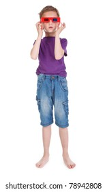 boy having fun wearing 3D glasses on white background