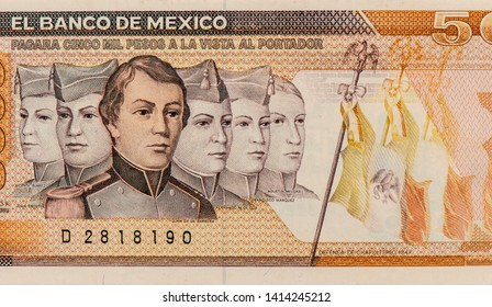 Boy Heroes portraits from Mexican Pesos 5000 pesos banknote. Mexico money currency. Close Up UNC Uncirculated - Collection.
