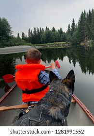 A boy and his dog adventure canoe outdoors hike cattle dog