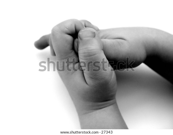 Boy with his hands together in Black and white and isolated on white background