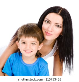 boy and his mother. isolated on white background