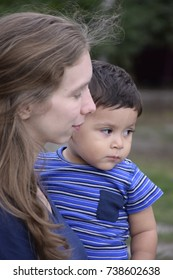 boy with his mother in the park