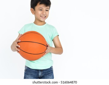 Boy Hold Basketball Hobby Sport Concept