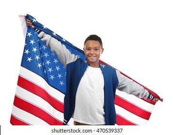 Boy holding American flag, isolated on white