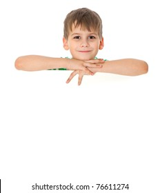 Boy holding a banner isolated on white background