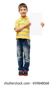 Boy holding blank poster isolated on white background