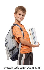 Boy holding books isolated on a white background. Back to school