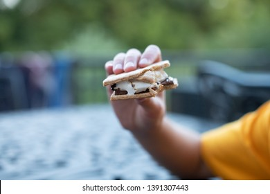 Boy holding a delicious hot s'mores