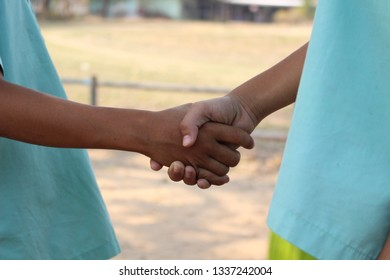 Boy is holding hands