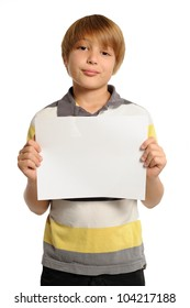 Boy Holding Horizontal Sign. Nine year-old boy holding a blank white sign. Add your own text. Isolated on white.