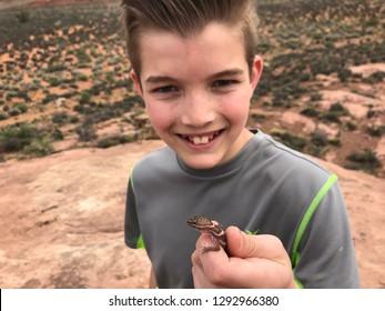 Boy holding a lizard in the wild - a western desert or Utah banded gecko, Coleonyx variegatus (utahensis)