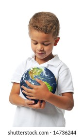 Boy holding the planet earth isolated on white