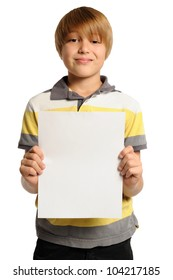 Boy Holding Vertical Sign. Nine year-old boy holding a blank white sign. Add your own text. Isolated on white.