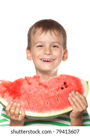 Boy holding a watermelon isolated on white background