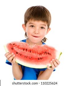 the boy holds a water-melon. isolated on white background