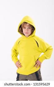 boy in a hooded sweat shirt