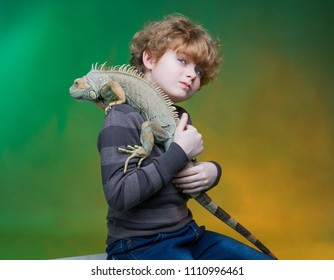 boy and iguana,  child and his best friend wild animal, boy and dragon