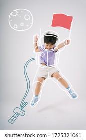 Ein Junge stellt sich vor, er trage die Uniform des Astronauten und springe mit roter Fahne aus dem Raumschiff.