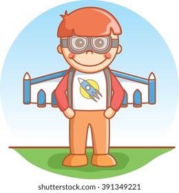 Boy with jetpack
