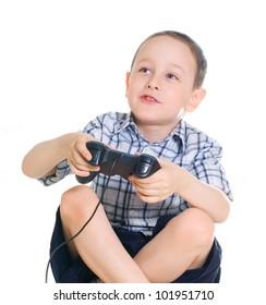 boy with a joystick  on white background