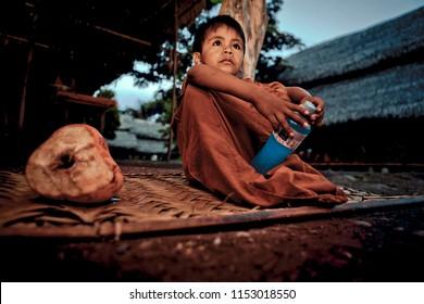 Boy from the jungle of Peru. July 03, 2015 Chanchamayo. Peru.