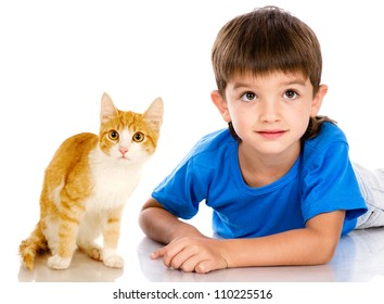 boy and kitten. isolated on white background