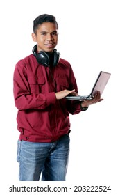Boy with laptop and headphone