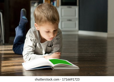 Boy is laying the floor and  reading a book  at home background