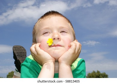 The boy lies in a meadow with flowers in the mouth