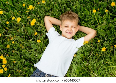 Boy lies on the grass