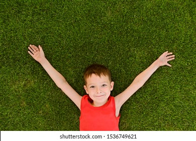 The boy lies on a well-groomed lawn. Little boy is lying on the grass. Top view portrait of a young boy laying down on lawn in the park.