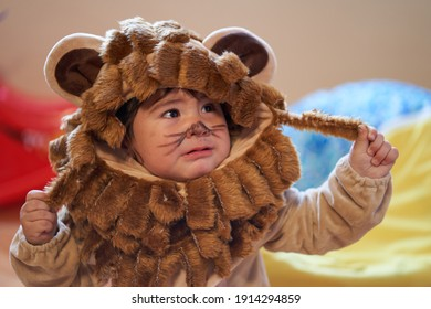 boy in lion costume looks worried as he holds up his mane. worried