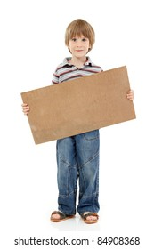 boy little funny cheerful holding blank banner cardboard isolated on white background